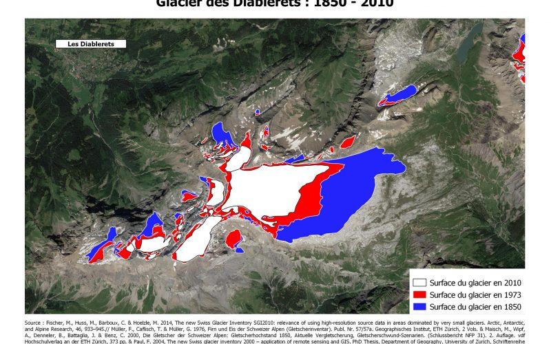 Evolution du glacier des Diablerets 1850 -2010